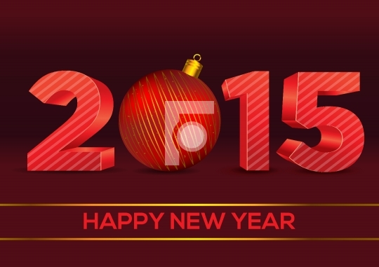 3D Happy New Year 2015 Christmas Ornament Vector Free Image / Ph