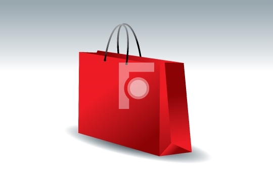 3D shopping bag in red color - vector illustration