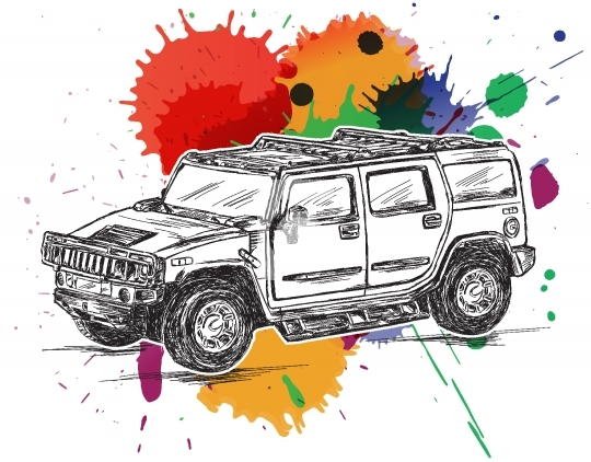 4x4 Colorful Sports Utility Vehicle SUV Vector Stock