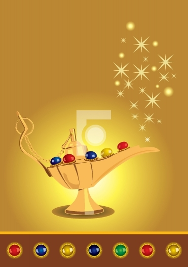 Aladdin's magic lamp with pearls - Vector Illustration
