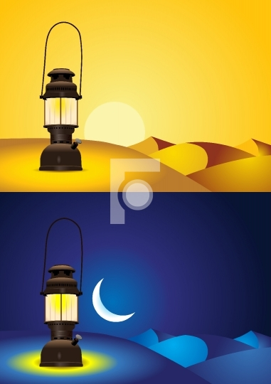 Antique lantern in the desert - day and night version