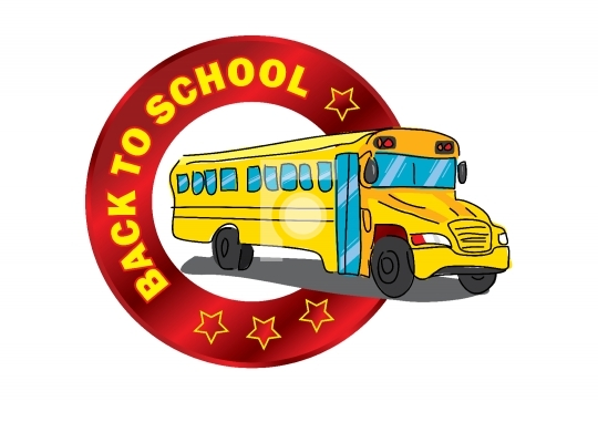 Back to school, school bus and text
