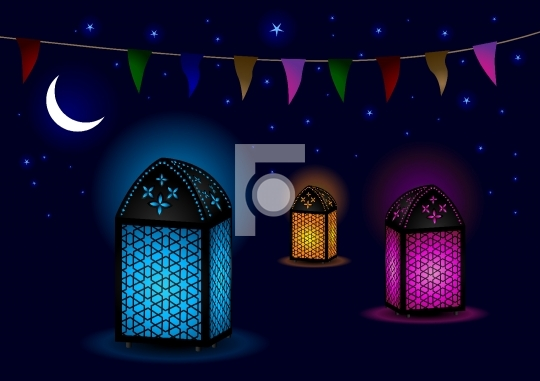 Beautiful Islamic Lamps with Crescent and Stars - Vector Illustr
