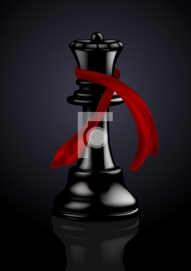 Black Chess Queen with a Fashion Scarf - Vector Illustration