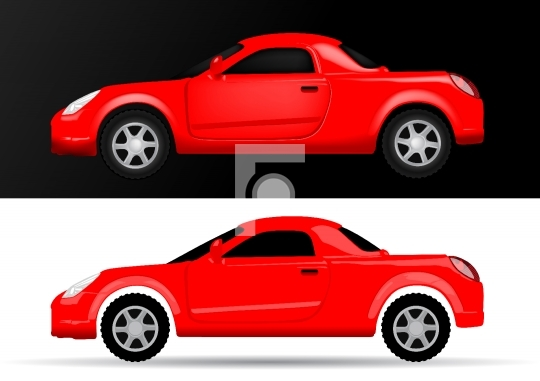 Car Side View - Vector Illustration