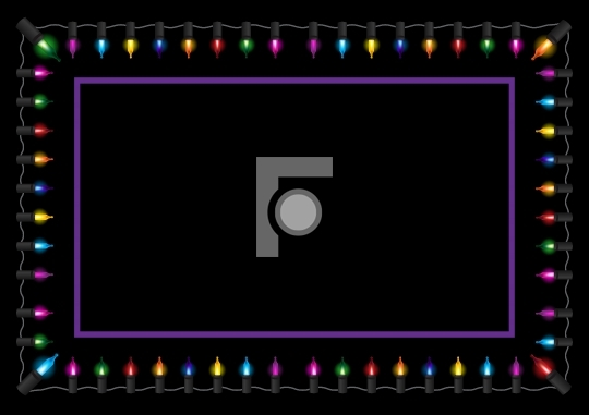 Christmas glow light border vector illustration