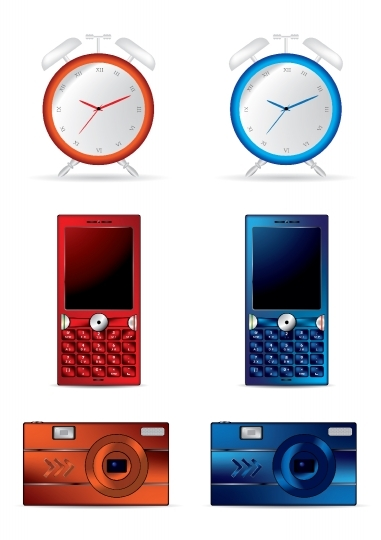 Clock, mobile and camera vector illustrations