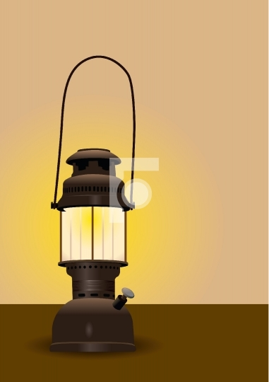 Detailed antique lantern with glow