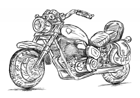 Detailed Motor Cycle Bike Vector EPS Illustration