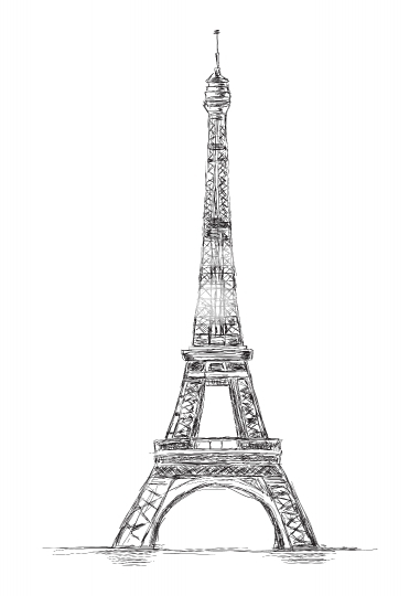 Eiffel Tower Handmade Vector Sketch Illustration, Paris, France