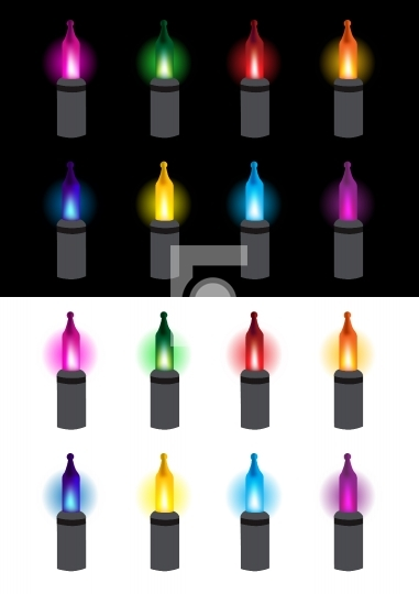 Festive glowing light bulbs vector illustration