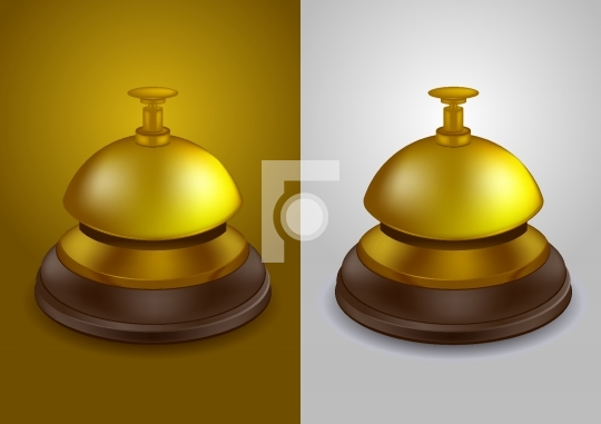 Gold colored call bell - vector illustration