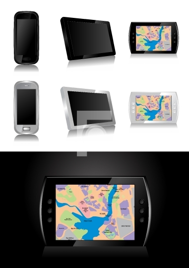 GPS device - global positioning system vector illustration
