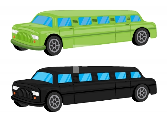 Green / Black Limousine Car Vehicle Cartoon - Vector Illustratio
