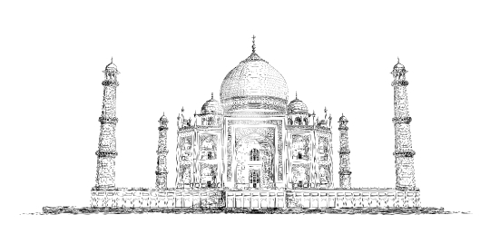 Hand Drawn Detailed Taj Mahal Vector Sketch Illustration