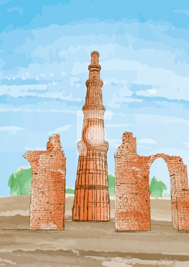 Hand Drawn Qutub Minar, New Delhi, India - Vector Illustration