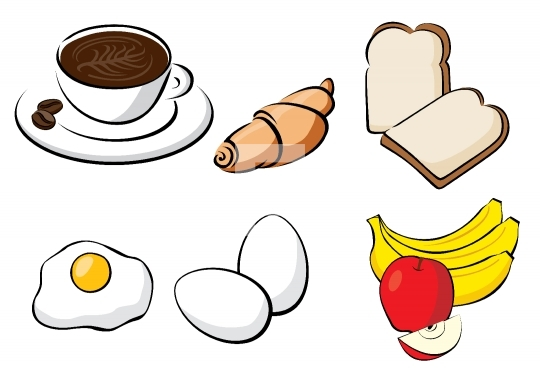 Healthy Breakfast - Bread, Coffee, Egg, Croissant, Banana, Apple