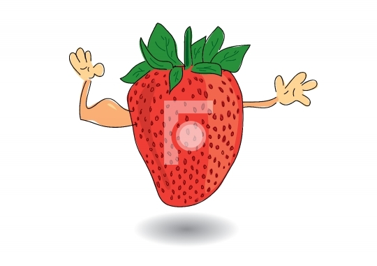healthy strawberry showing biceps