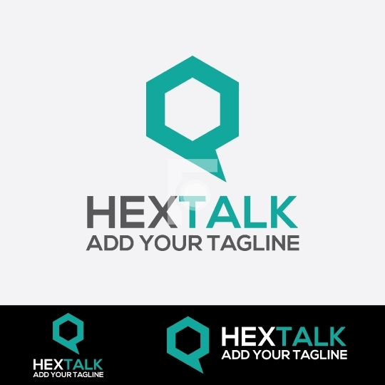 Hextalk - Instant Messaging Chat App Logo Design Template