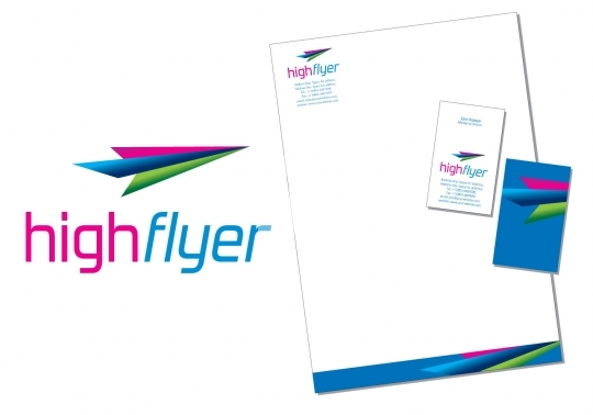 High Flyer logo with business cards and letterhead EPS8 Format