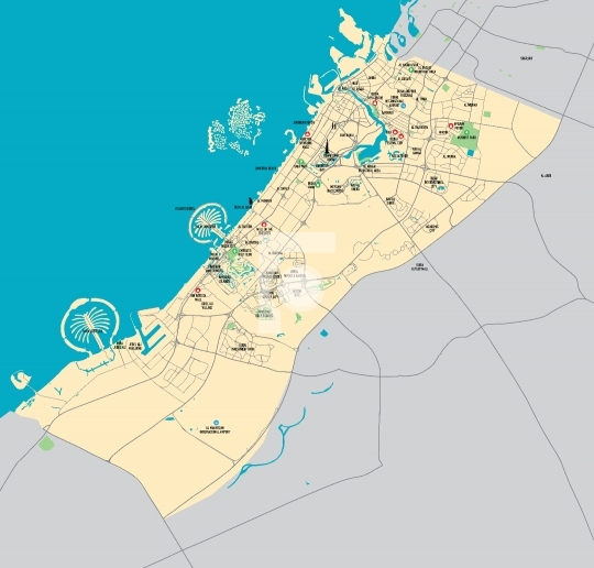 High Resolution Dubai Map Vector AI, EPS, PDF & JPG format - Latest 2016 Map