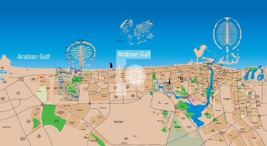 High Resolution Editable Dubai Map - Vector EPS, PDF & JPG
