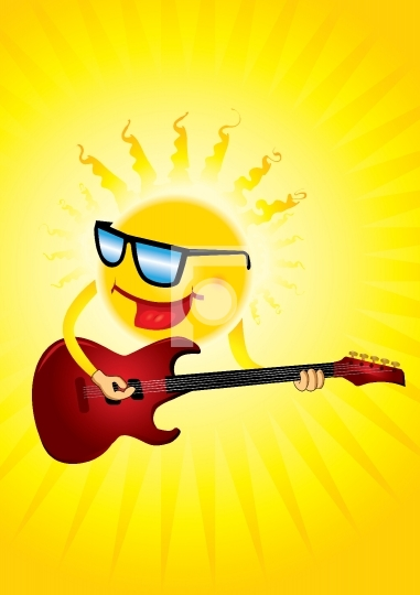 hot sun with a guitar playing cool music