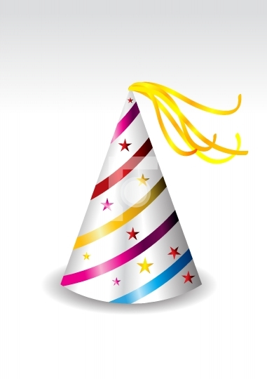 illustration of a colorful party hat