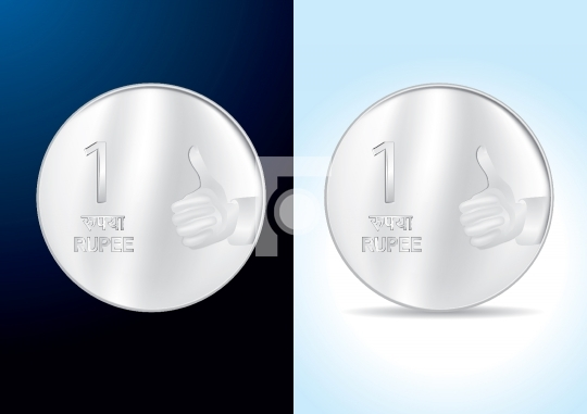 Indian One Rupee Coin - Vector Illustration