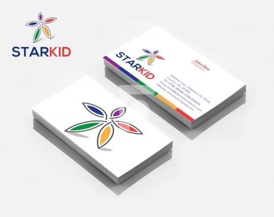 Kids Star Flower Colorful Logo Design & Business Card Template