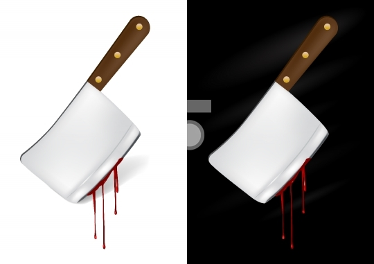 Kitchen knife with blood - vector illustration