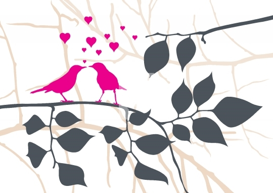 Love Birds on a Tree - Vector Illustration