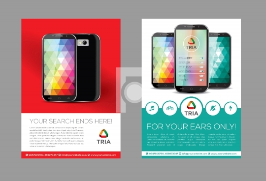Mobile App Flyer Design Template Print Ready AI / EPS file