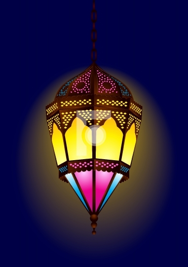 Old style arabic lamp for ramadan / eid - vector illustration