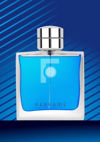 Perfume bottle in blue background
