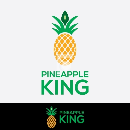 Pineapple King Fresh Fruit Logo Design Template
