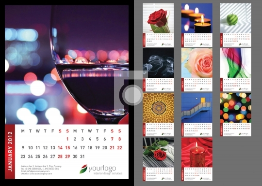 Print Ready Abstract Calendar Template - High Resolution Illustr