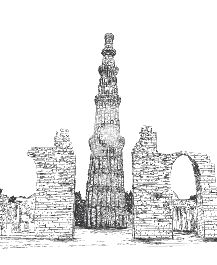 Qutub Minar Vector Illustration - New Delhi, India Unesco World