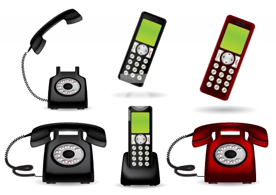 Retro telephone and cordless - vector illustration
