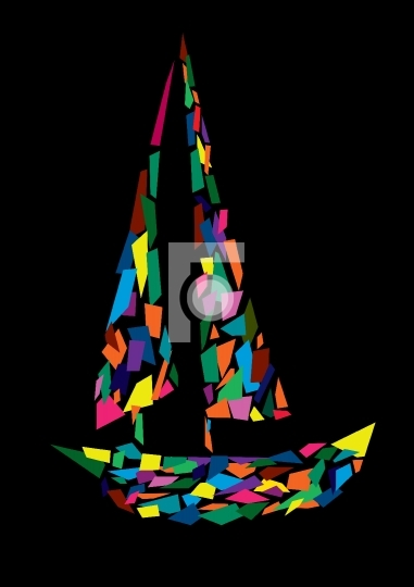 Sail boat abstract vector illustration