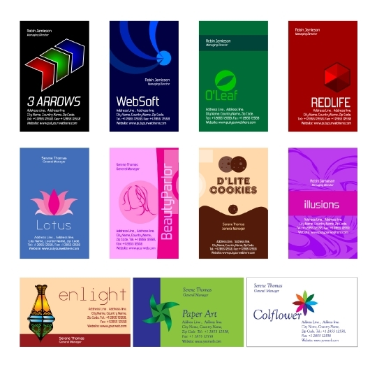 Set of 11 business card design templates - EPS Format