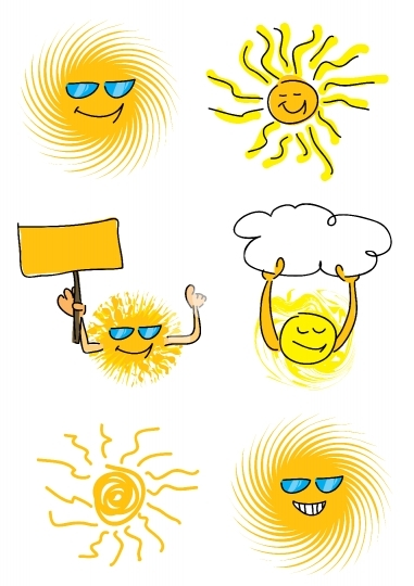 set of 6 sun vector illustrations