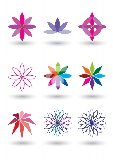 set of 9 lotus flower vector illustration