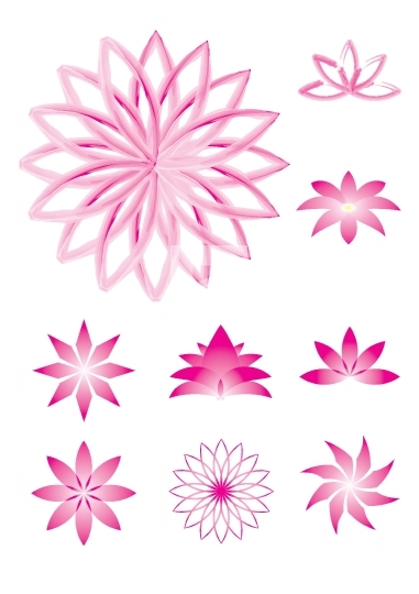 Set of 9 pink lotus vector illustrations