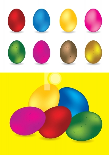 Set of colorful easter eggs - vector illustrations