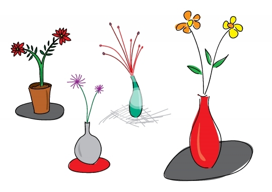 Set of flower vase illustration