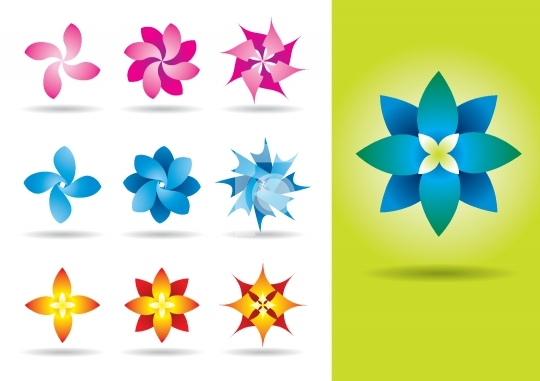 Set of ten vector exotic flowers