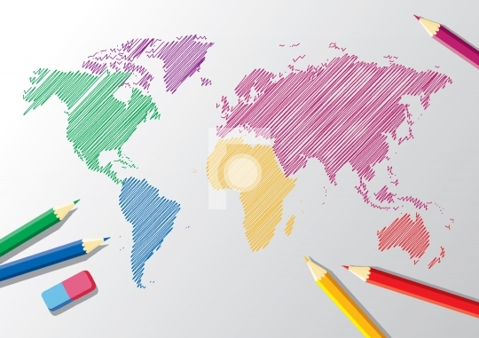 sketch of a world map with pencils and eraser