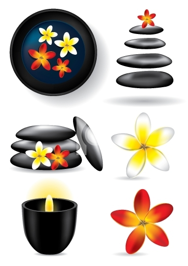 Spa elements - candle, flower, stones - vector illustration