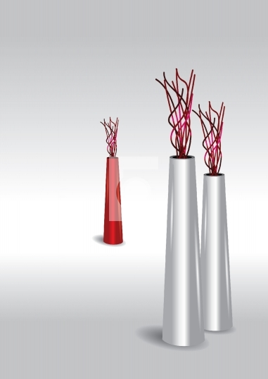three flower vases - two white, one in red
